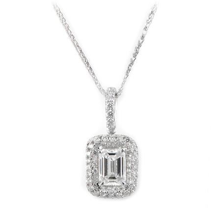 Emerald Cut Diamond Halo Pendant In 18k White Gold