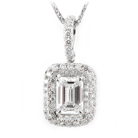 Emerald cut diamond halo pendant in 18k white gold emerald cut diamond pendant aloadofball Choice Image