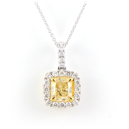 Fancy yellow diamond pendant w halo wixon jewelers fancy yellow diamond pendant mozeypictures Image collections