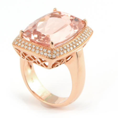 14carat Checkerboard Cut Morganite Gemstone Ring in Rose Gold