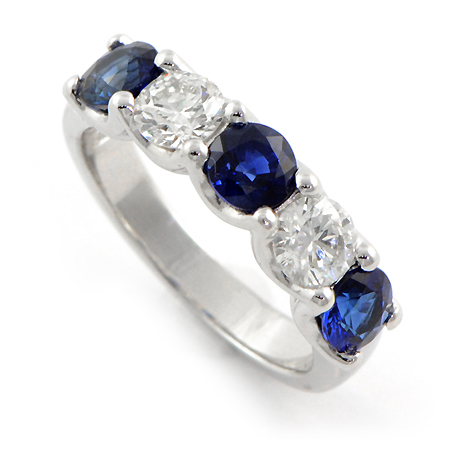 Blue Sapphire Diamond Ring for Wedding Band or Anniversary Ring