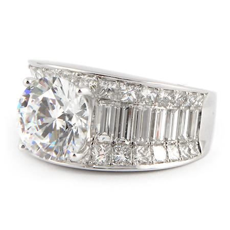 Wide Band Engagement Ring w Baguette Princess Cut Diamonds