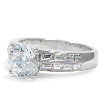 custom engagement ring baguette set diamonds wixon
