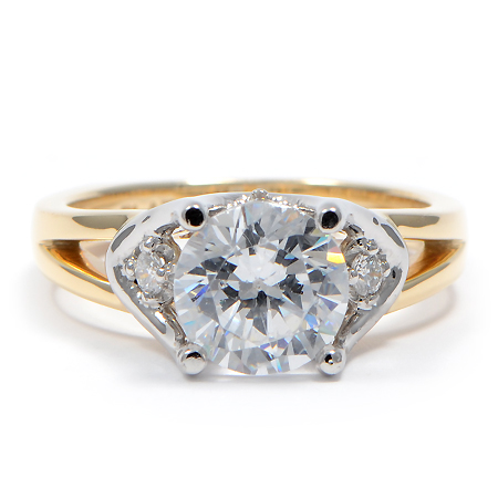Two Tone Solitaire Engagement Ring In Platinum Amp Yellow Gold