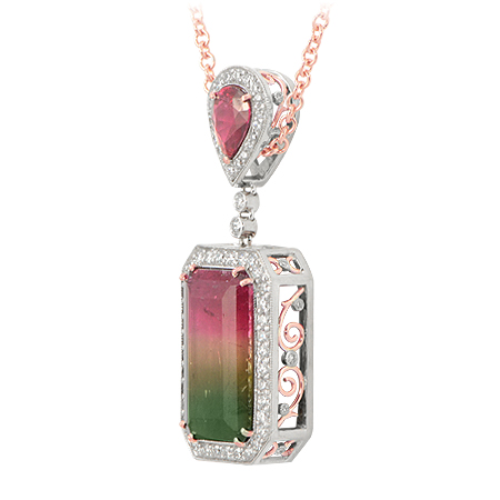 Custom Watermelon Tourmaline Pendant Bi Color Pink