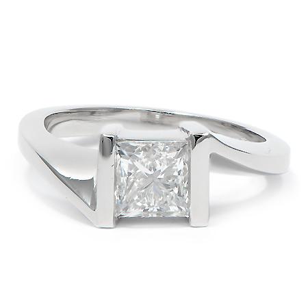 Custom Bypass Engagement Ring In Platinum Princess Cut