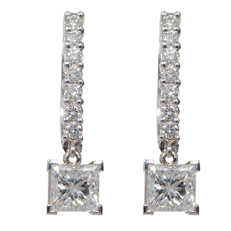 Diamond Dangle Earrings Princess Cut Leverback Wixon