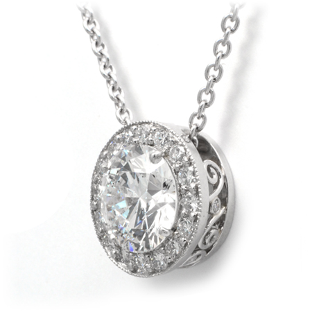 Custom diamond halo pendant platinum wixon jewelers round diamond halo pendant aloadofball Gallery