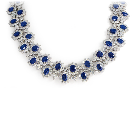 185 Carat Ceylon Blue Sapphire Amp Diamond Collar Necklace