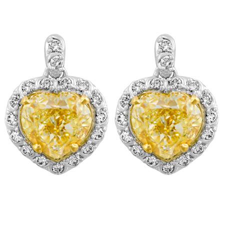 Heart Shaped Yellow Diamond Earrings