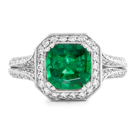 emerald halo platinum ring