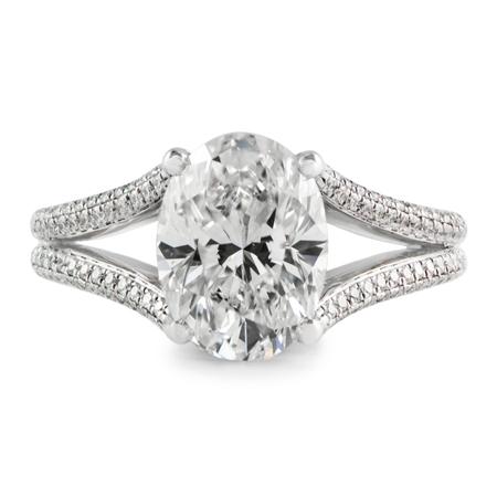 oval split shank diamond ring