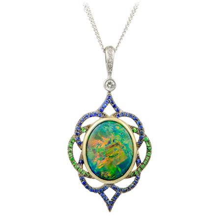 black opal bezel necklace wixon jewelers