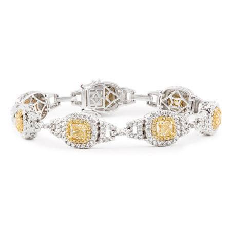 Fancy Yellow Diamond Halo Bracelet Wixon Jewelers