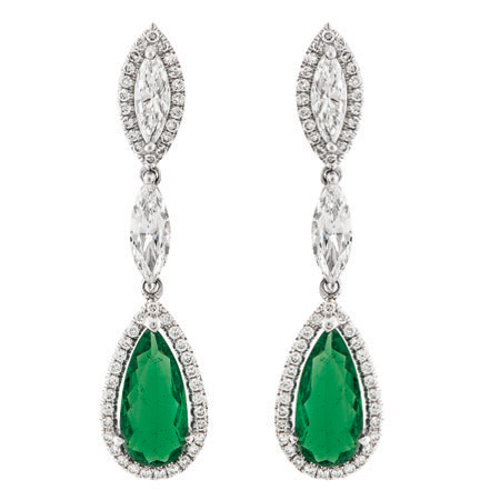 Emerald and Diamond Halo Dangle Earrings