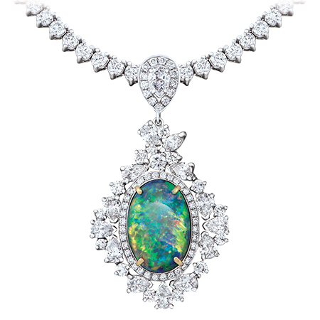 Black Opal Pendant Diamond Riviera