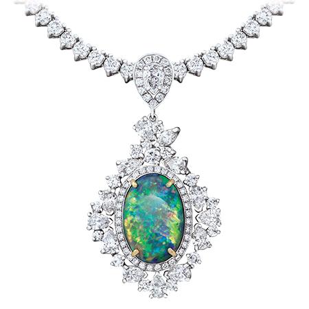 Black Opal Pendant Diamond Riviera