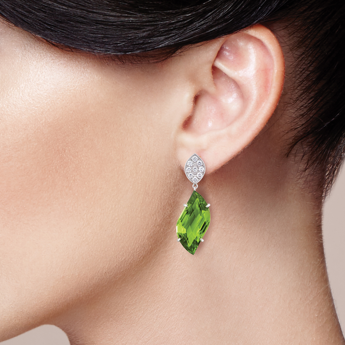 Wixon Custom Peridot and Diamond Earrings