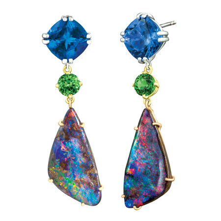 Custom boulder opal drop earrings wixon jewelers for Jewelry stores boulder co