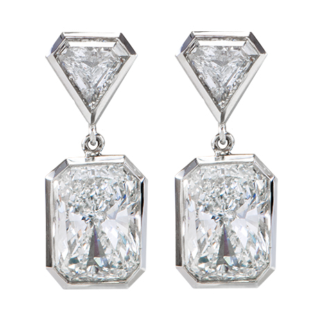 radiant cut diamond platinum earrings