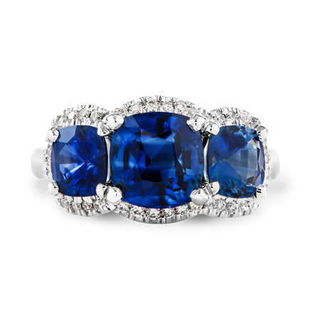 custom ceylon blue sapphire ring in platinum