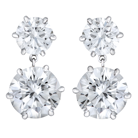 double drop round white diamond earrings
