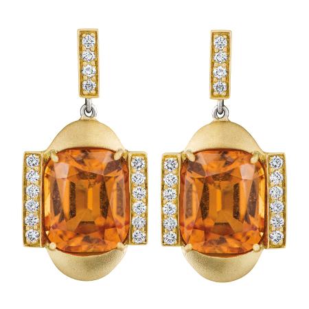 custom mandarin garnet and diamond yellow gold earrings