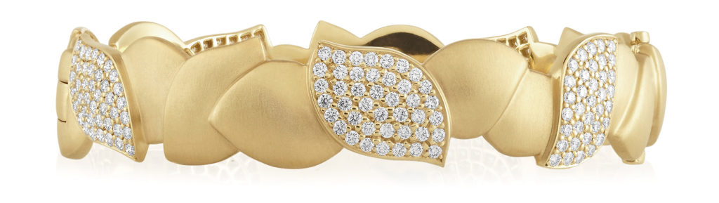 gold leaf diamond bangle bracelet