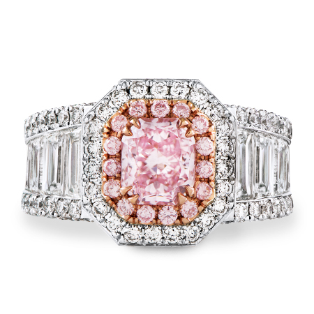 radiant cut pink diamond platinum ring