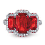 Three-Stone Burmese Ruby and Diamond Ring