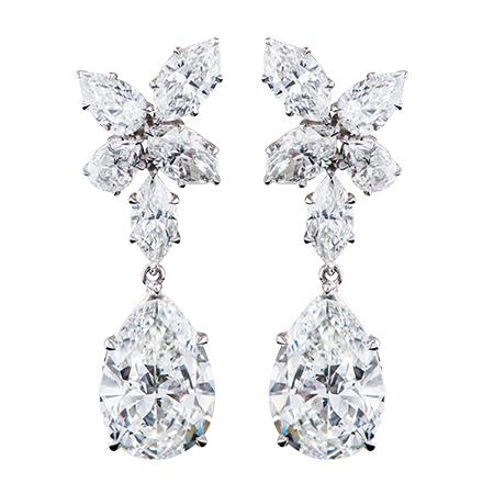 pear shape diamond drop platinum earrings