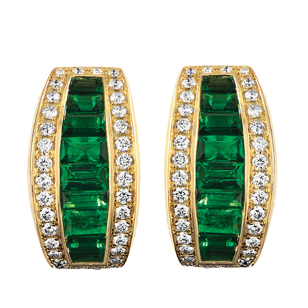 Emerald And Diamond Yellow Gold Earrings