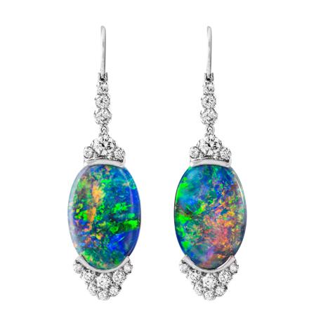 custom black opal and diamond earrings wixon jewelers