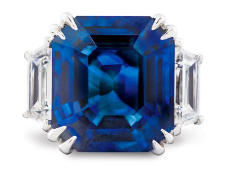 emerald cut blue sapphire platinum ring