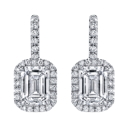 emerald cut diamond halo earrings