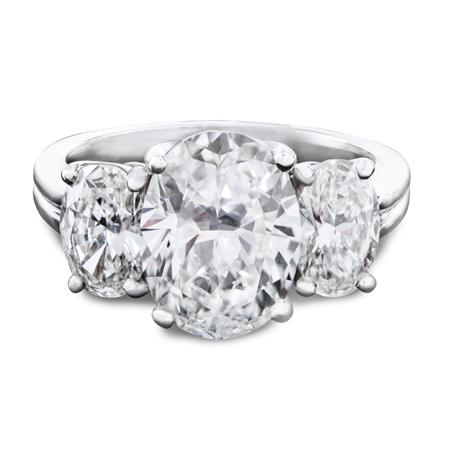 three stone oval platinum ring