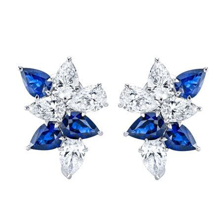 sapphire and diamond platinum cluster earrings