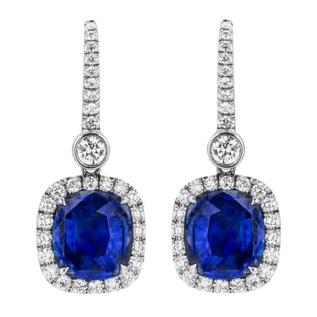 blue sapphire white gold diamond halo earrings