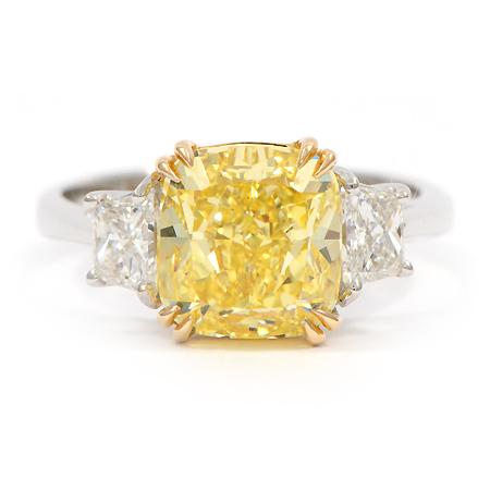 Cushion Cut Fancy Intense Yellow Diamond Engagement Ring