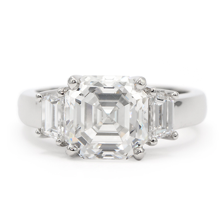 Classic 3-Stone Asscher Cut Engagement Ring Custom Designed