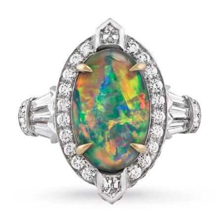 Custom Black Opal and Diamond Ring