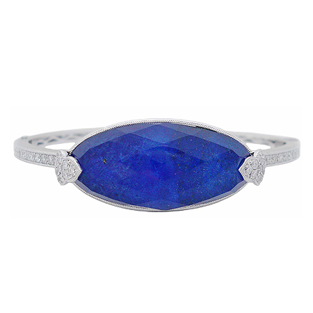 White Topaz & Blue Lapis Bangle Bracelet