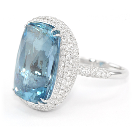 Aquamarine & Diamond Ring from Brazil