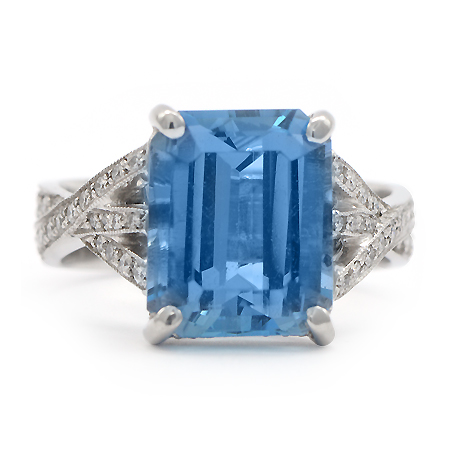 Emerald Cut Aquamarine Color Gemstone Ring by JB Star with Pave Diamonds