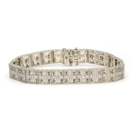 White Gold & Diamond Vintage Bracelet
