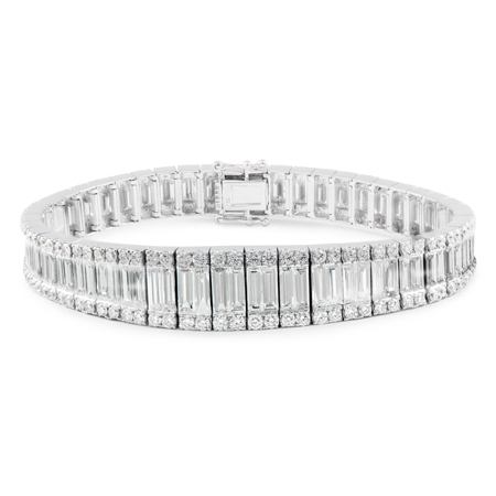 baguette and round cut diamond bracelet
