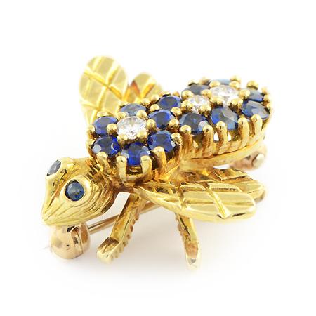 Blue Sapphire Bee Pin
