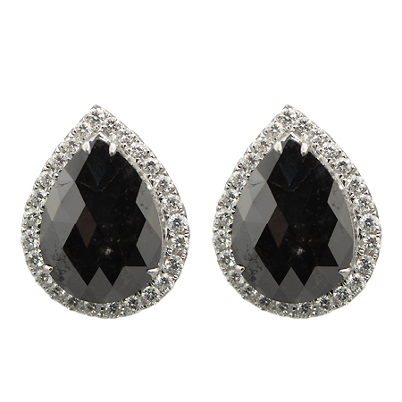 Pear Shaped Black Diamond Earrings with Halo