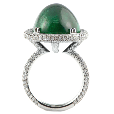 Green Emerald Dome Ring