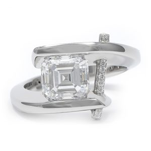 square Engagement Ring by Claude Thibaudeau